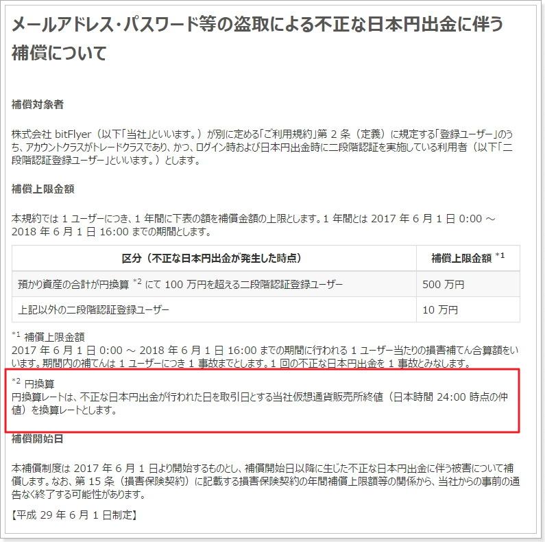 bitFlyer不正ログイン盗難補償詳細