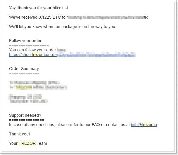 TREZOR海外公式サイト注文方法11注文確定メール