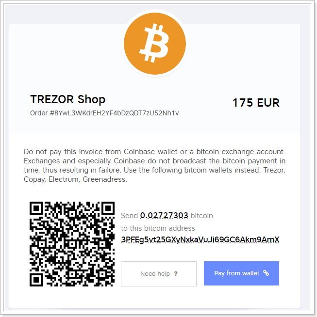 TREZOR海外注文ビットコイン支払い