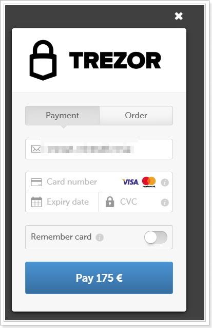 TREZOR海外注文クレジットカード支払い