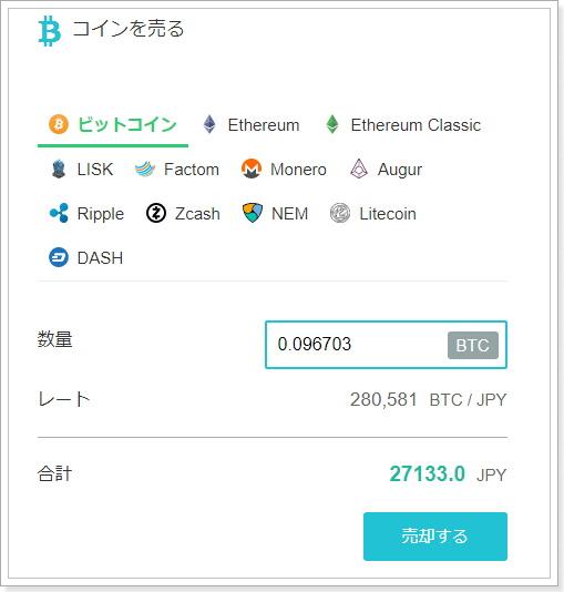 仮想通貨の売却方法コインチェック