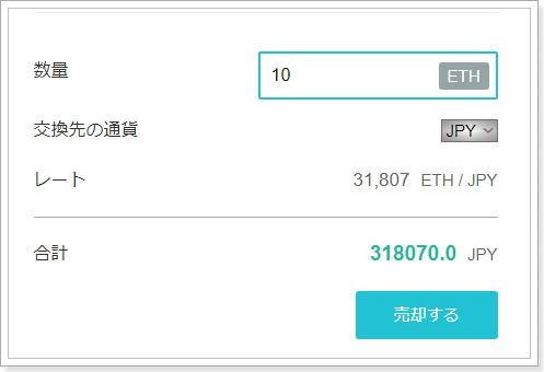 Ethereum(イーサリアム)売却方法