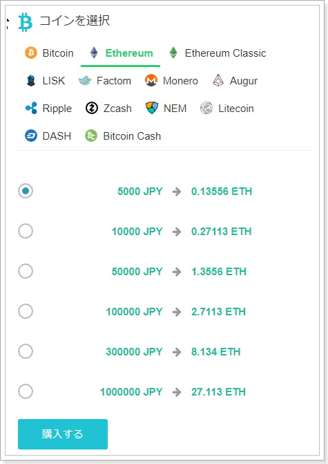 Ethereum(イーサリアム)購入方法手順,クレジットカード