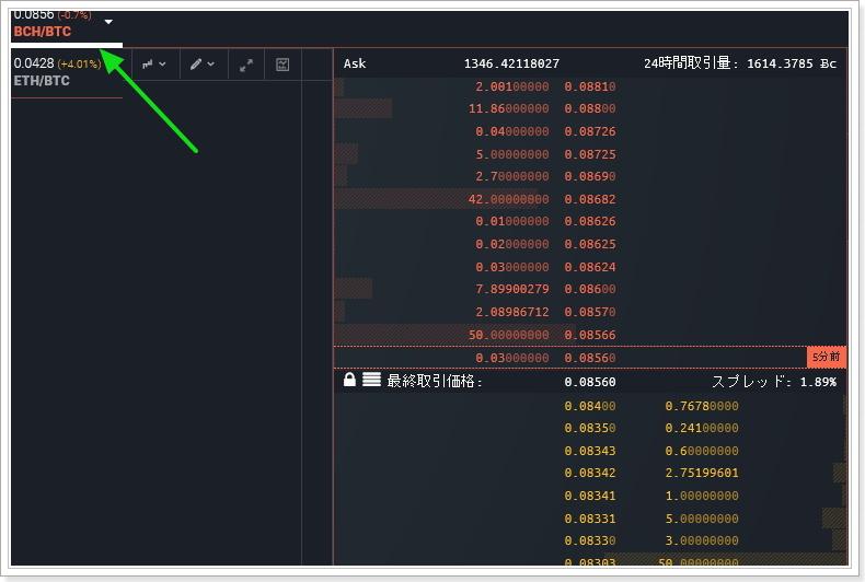 bitFlyerライトニングのビットコインキャッシュ取引き画面
