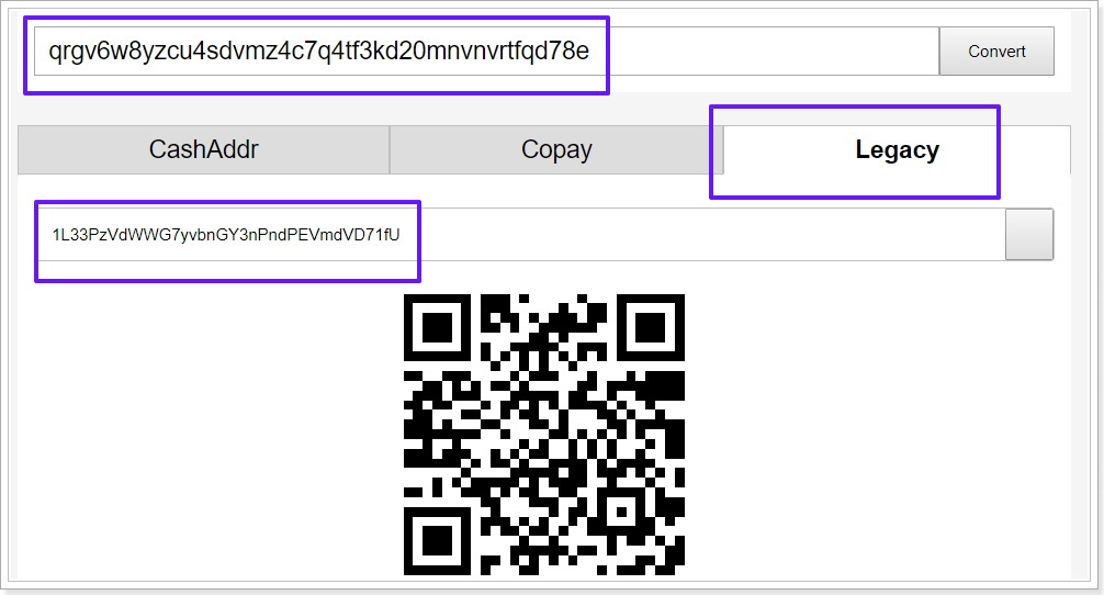 BCHアドレスの変換方法